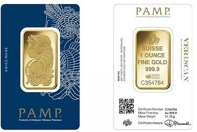 New Pamp Suisse 1oz (Ounce) Gold Bullion Bar 999.90 Coins/bars COLLECTION Pls