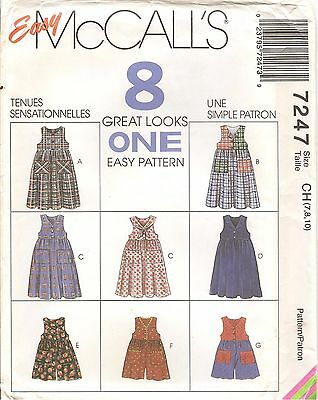 Easy McCalls Sewing Pattern 7247 8 Looks 1 Easy Pattern Girls Dress Size 7-10