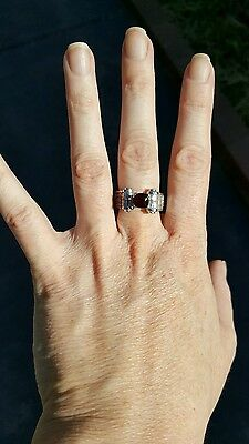 18ct white gold natural spinel and diamond dress ring