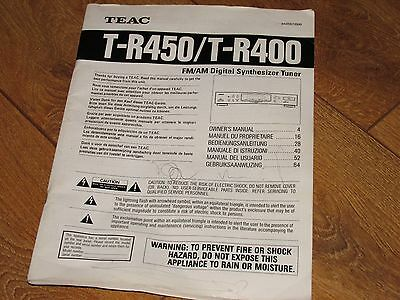 owners manual for TEAC T-R450 / T-R400 FM/AM digital synthesizer tuner