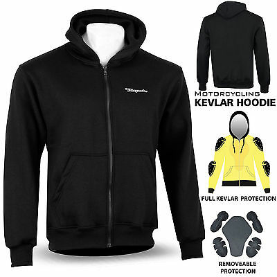Motorcycle Kevlar Hoodie Hoody Full Protective Armour Fleece Lined Protection