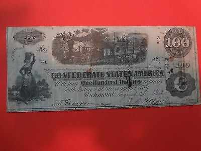 1862. Confederate. $100. Currency Note - Richmond