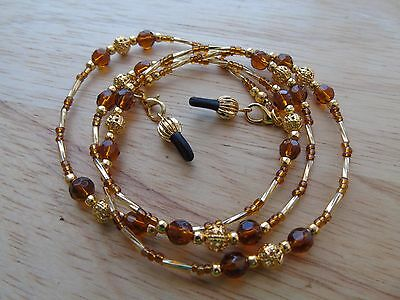 Beaded Brown Gold Coloured Spectacle  Glasses Chain Lanyard Necklace.