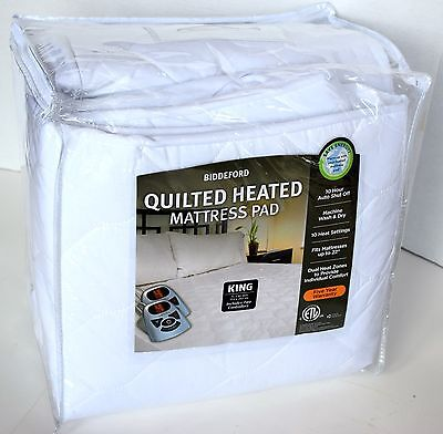 Biddeford - Quilted Heated Mattress Pad - King - New - Save Energy!