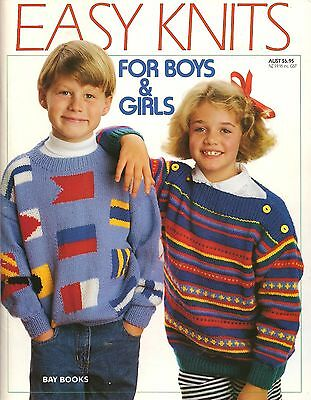 Vintage Easy Knits For Boys & Girls Knitting Pattern Book 35 Designs