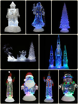 Pre Lit New Colour Changing LED Glitter Water Ornament Christmas Xmas Decoration