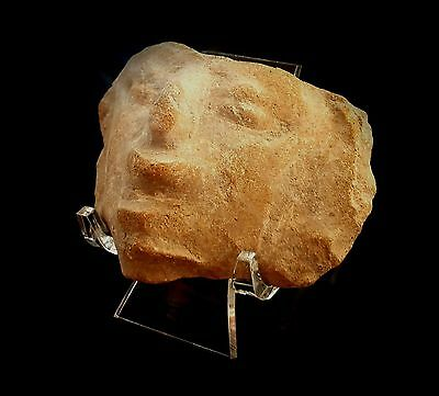 PRE-COLUMBIAN HEAD - OPEN MOUTH ON PERSPEX DISPLAY STAND 1st MILLENNIUM A.D.
