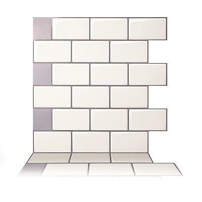 Tic Tac Tiles® -High Quality 3D Peel & Stick Wall Tile in Mono White(5 sheets)