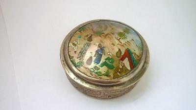 Persian Hand Painted Mother of Pearl Metal box