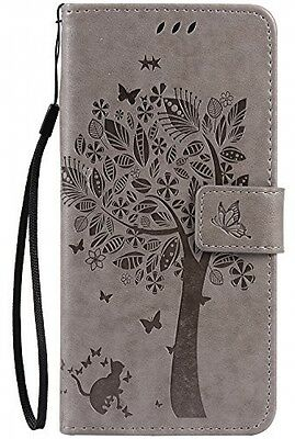 C-Super Mall-UK Apple IPhone 7 Plus Case, Embossed Tree Cat Butterfly Pattern 7