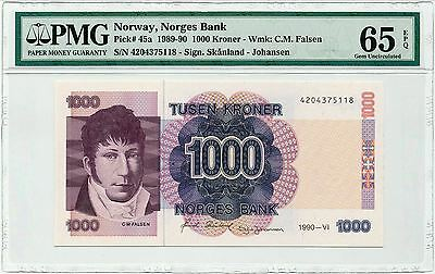 Banknote, Norway 1000 kroner, 1990 P45a, UNC, PMG65