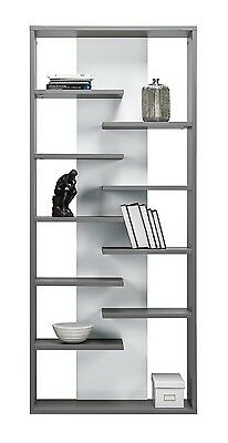 Modern Office Teenage Living Room Bookcase ZENO 8 Shelving Storage in Grey/White