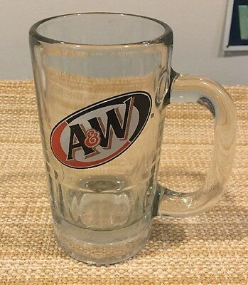 """VINTAGE  A & W ROOT BEER MUG 16 OZ. Heavy Clear Glass - 6"""" Tall"""