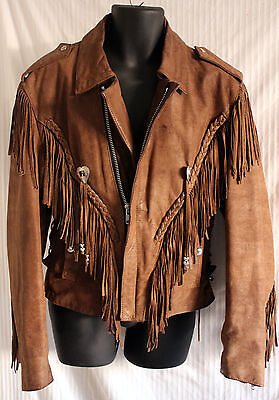 Men's vintage Western motorcycle fringed Brown Leather jacket w Conchos sz S