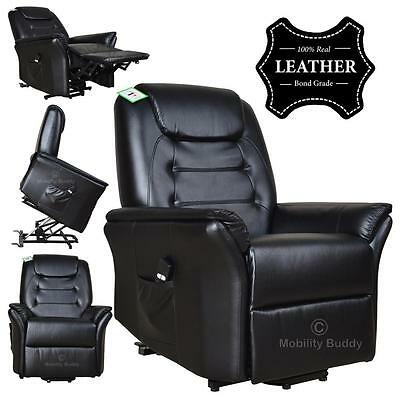 Buckingham Black Electric Rise Recliner Real Leather Armchair Sofa Lounge Chair