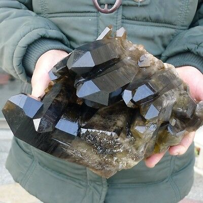 8.4 LB AAAAA+++++ NATURAL SMOKY QUARTZ CRYSTAL CLUSTER Healing