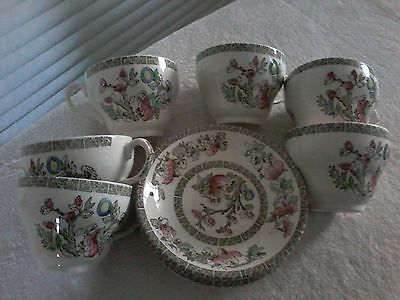 6 Tea Cups & Saucers Indian Tree By Johnson Bros. England.