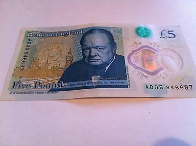 Five Pound £5 Bank Of England New Polymer Note AD05 946687