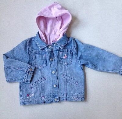 Next Girls Denim Jacket With Detachable Hooded Vest Size 3 Years