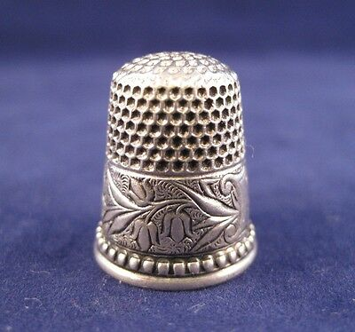 Ketcham & McDougall Thimble - Sterling Silver Damask Lily c1890
