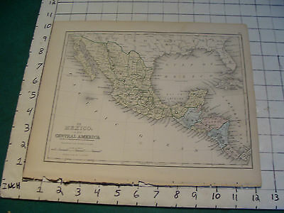 Vintage Original 1866 Mitchell Map: MEXICO Central Amer map # 20 aprox 10 X 12""