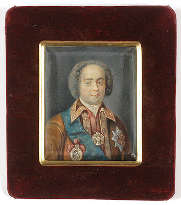 """Count Andrei Ivanovich Ushakov"", Russian miniature, 18/19th century"