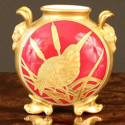 Antique Coalport Small Vase, gold encrusted, gilded, gilt