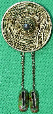 Scarce late 19th century Japanese gilt metal straw hat and enamel shoes brooch