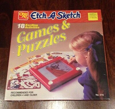 NEW Vintage ETCH A SKETCH Games & Puzzles 18 PC SET Overlay Stenzils NO.516
