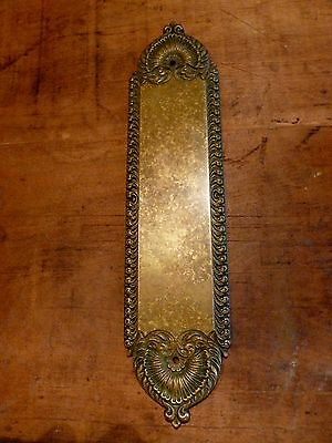 "Antique original art nouveau approx. 3 x 12"" solid bronze door push plate"