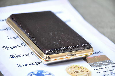 24K gold plated Fashionable Leather cigarette case holder metal tobacco box