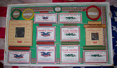 Vintage National Firecracker Company Deluxe Salesmans Sample Wall Display