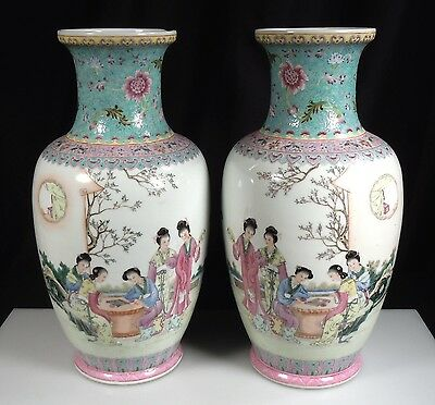 Pair Chinese Porcelain Famille Rose Vases 14""
