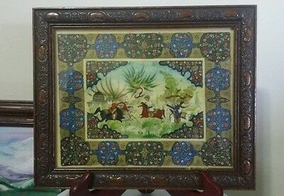 Antique Persian Hand painted in old plastic, signed RL, with wood frame