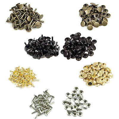 10mm x 18mm Double Cap Brass Rivets Jiffy Studs Leather Crafts in a Pack of 50