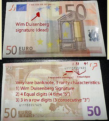 Banknote Wim Duisenberg very RARE 50euro L006D2 FRANCE 4 EQUAL DIGITS+3 in a row