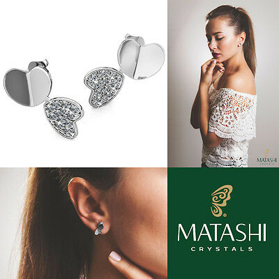 18K White Gold Plated Earrings w/ Double Heart & Encrusted Crystals by Matashi