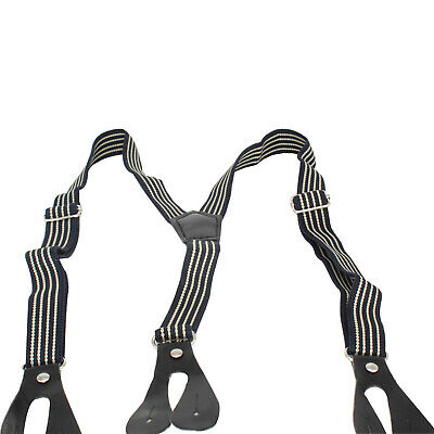 20mm Wide Boys Elasticated Braces Navy with Beige Stripe Button Hole Suspenders