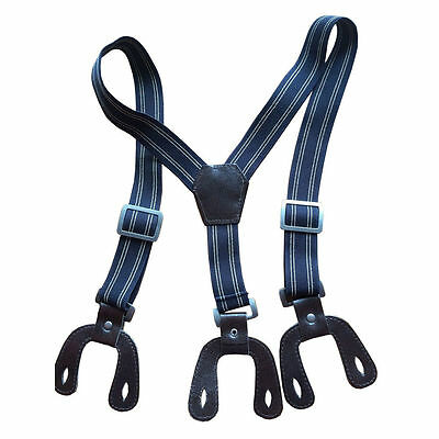 Boys Braces Navy Stripe Button Hole Suspenders Wide Elastic Shirts 25mm