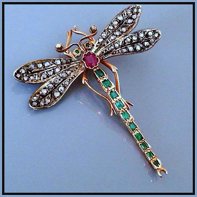 Awesome!! Vintage Re-Production Rose Cut Diamond Ruby Silver Brooch @ebay