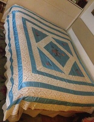 Antique Absolutely Beautiful Coverlet Bedspread  Lace, Blue Satin & Embroidery