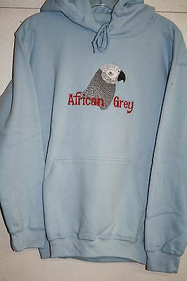 African Grey Parrot Embroidered On A Small Lite Blue Hooded Sweatshirt