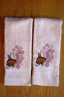 Donkey & Cross Embroidered On 2 Pink Hand/Kitchen Towels