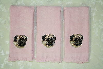 Pug Dog Embroidered On A 3 Pink Rally/Finger Tip Towels
