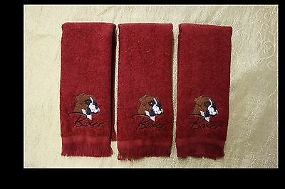 Boxer Dog Embroidered On A 3 Barn Red Rally/Finger Tip Towels