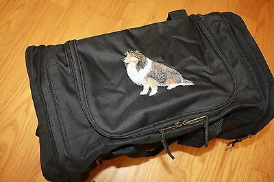 Sheltie, Shetland Sheepdog Embroidered On a Black Duffle Bag