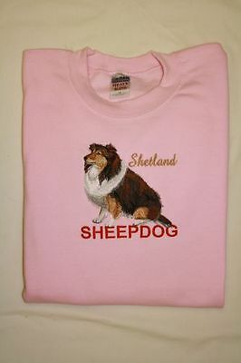 Sheltie / Shetland Sheepdog Embroidered On a 2XLarge Pink Crewneck Sweatshirt