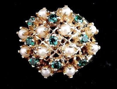 Vintage Handmade 14K Yellow Gold Ring With Natural Emerald And Pearl