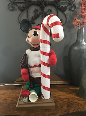 Rare Animated MICKEY MOUSE PAINTING CANDY CANE Santa's Best Disney Christmas