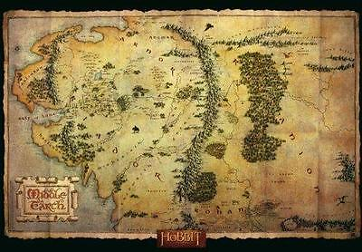 Official The Hobbit Middle Earth Map Poster